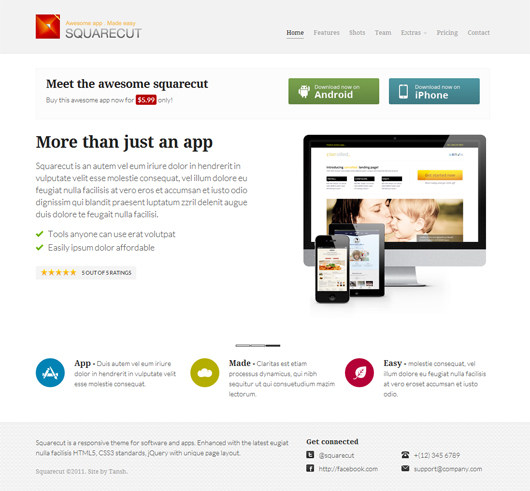 Free Responsive Landing Page Template | Squarecut Responsive Landing Page Template Html5 Mania