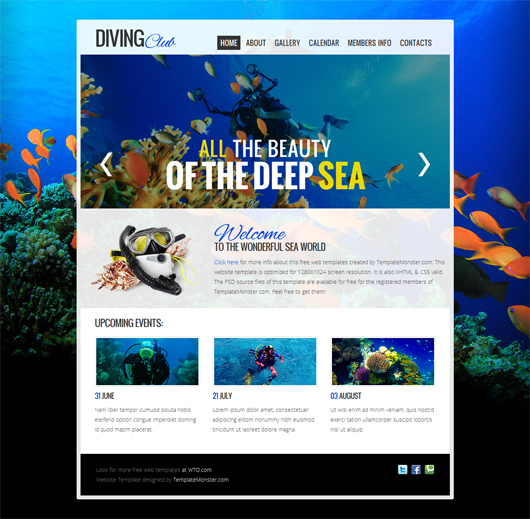 Diving club free html5 template html5 mania for Free website templates html5