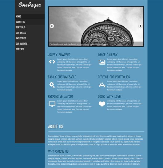 OnePager – Free Responsive WordPress Theme