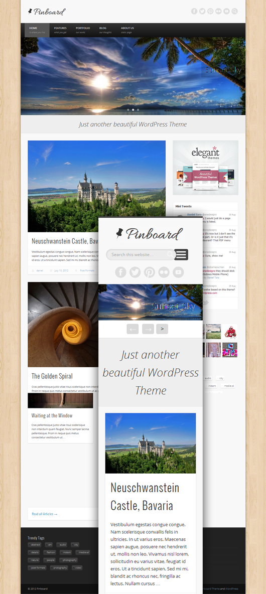 Pinboard- Free Responsive WordPress Theme with Slider