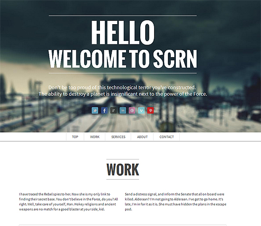 SCRN – HTML5 Responsive Parallax Template