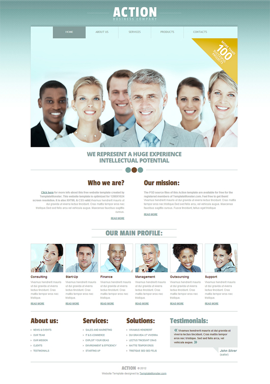 Action- Free HTML5 Business Template