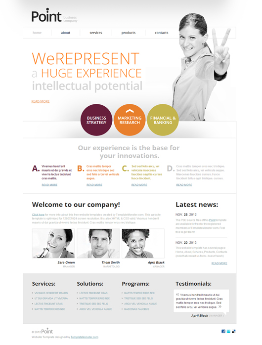 Point- Free HTML5 CSS3 Business Template
