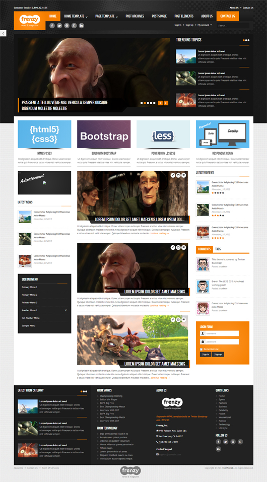 Frenzy – Premium Responsive Bootstrap Template