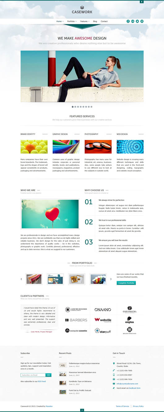 Casework WP – Design Studio Portfolio & Blog Theme