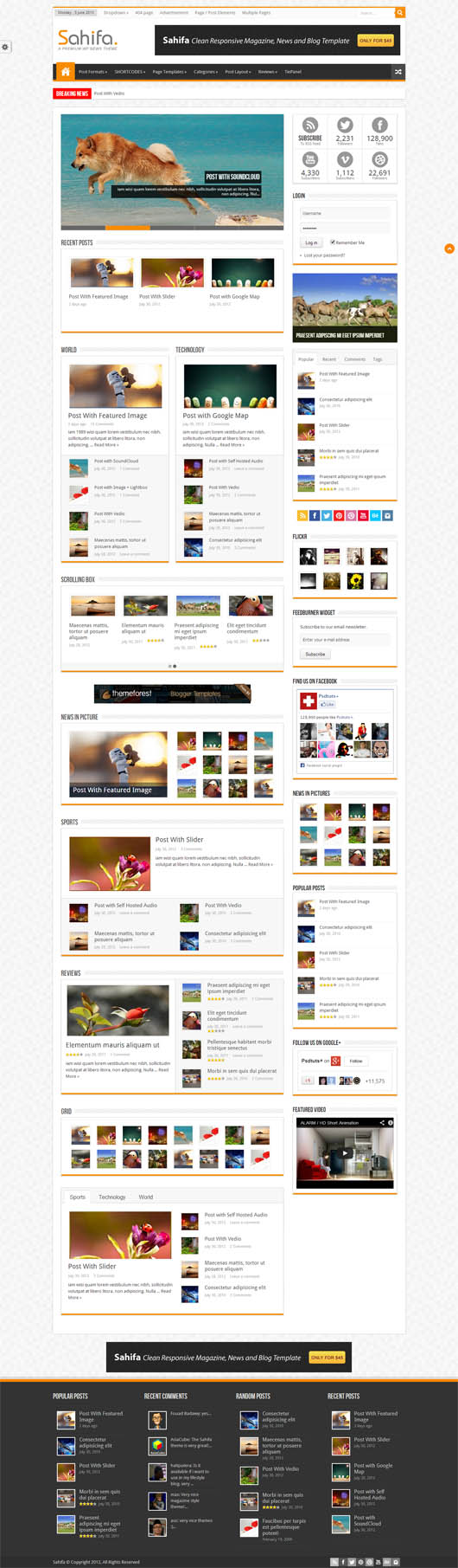 Sahifa – Responsive WordPress News,Magazine,Blog Theme