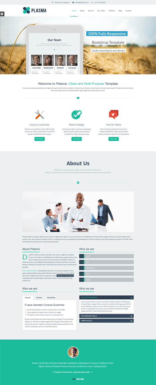 Plasma – One Page Multi-Purpose WordPress Theme