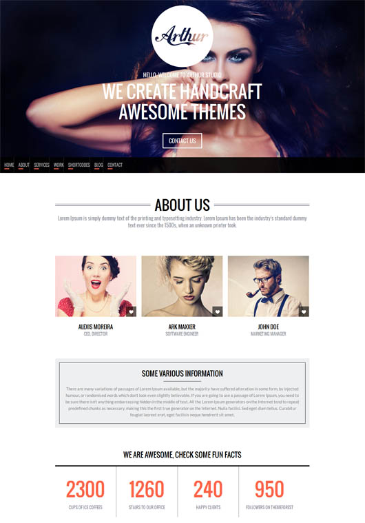 Arthur – Responsive, One Page and Parallax WP Theme