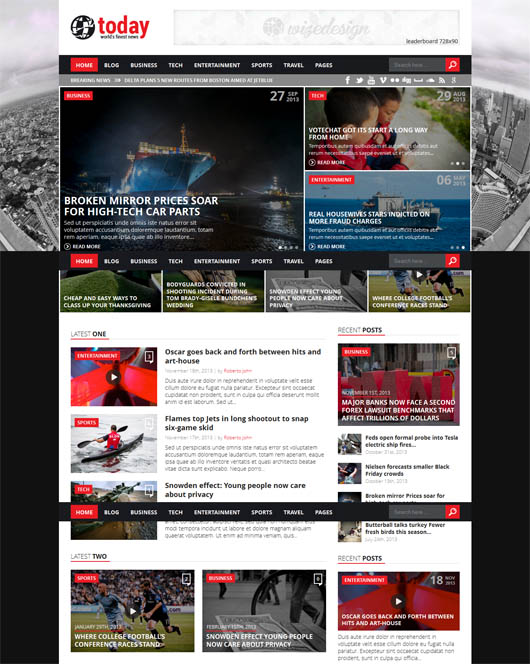 Today – Info News & Magazine WordPress Theme