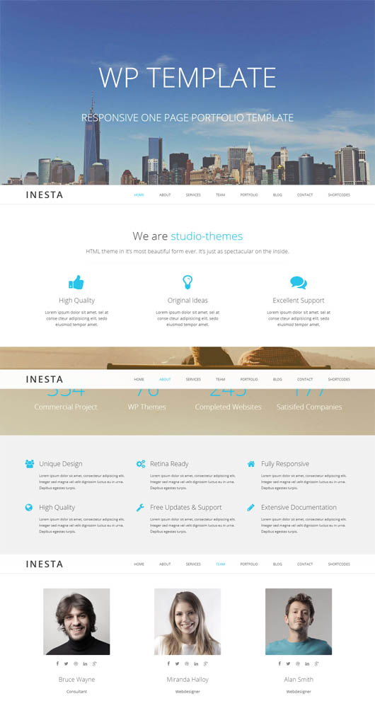 Inesta – Responsive One Page WordPress Theme