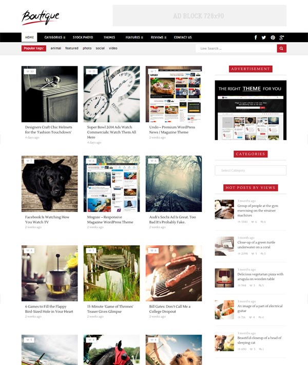 Boutique Grid – Creative Magazine WordPress Theme