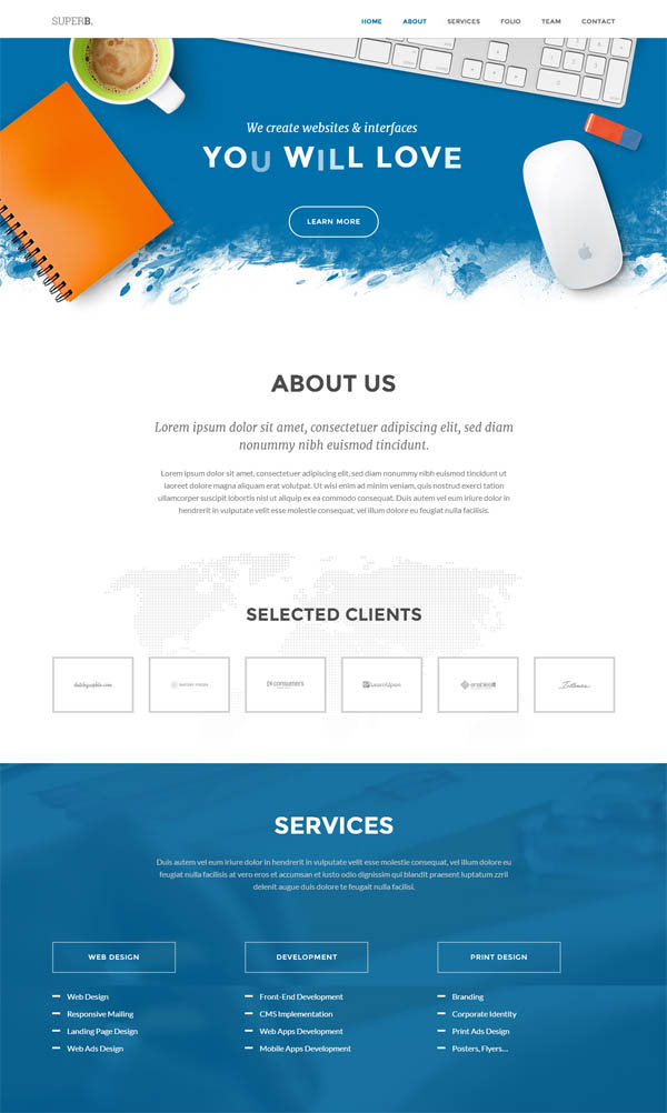 Superb – Responsive One-Page WordPress Theme
