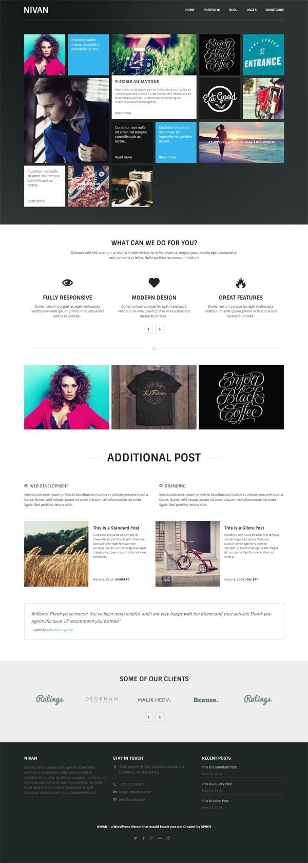 Nivan – One Page/Multi Page WordPress Theme
