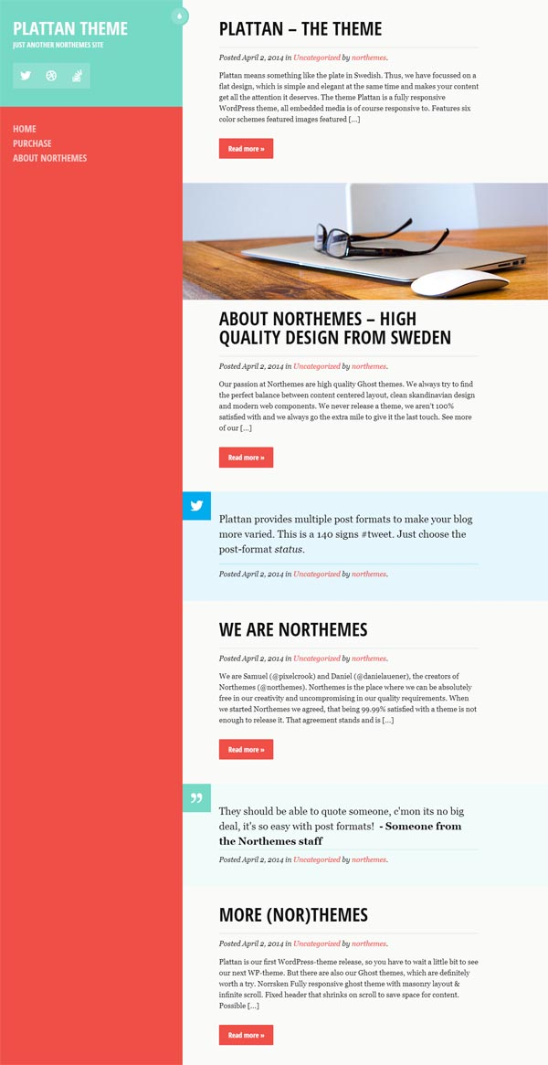 Plattan – Flat and Responsive WordPress Theme