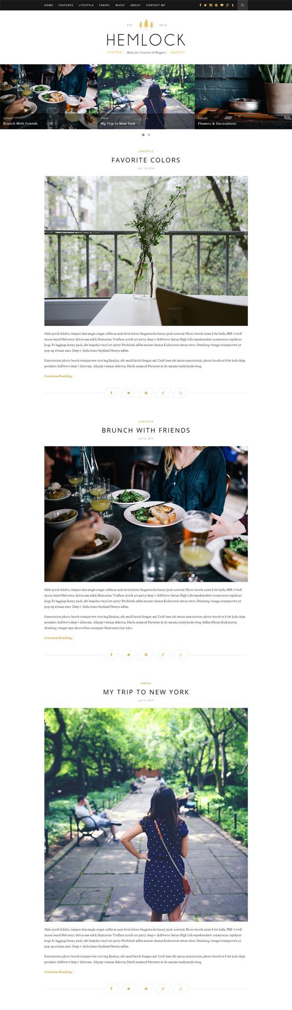 Hemlock – A Responsive WordPress Blog Theme