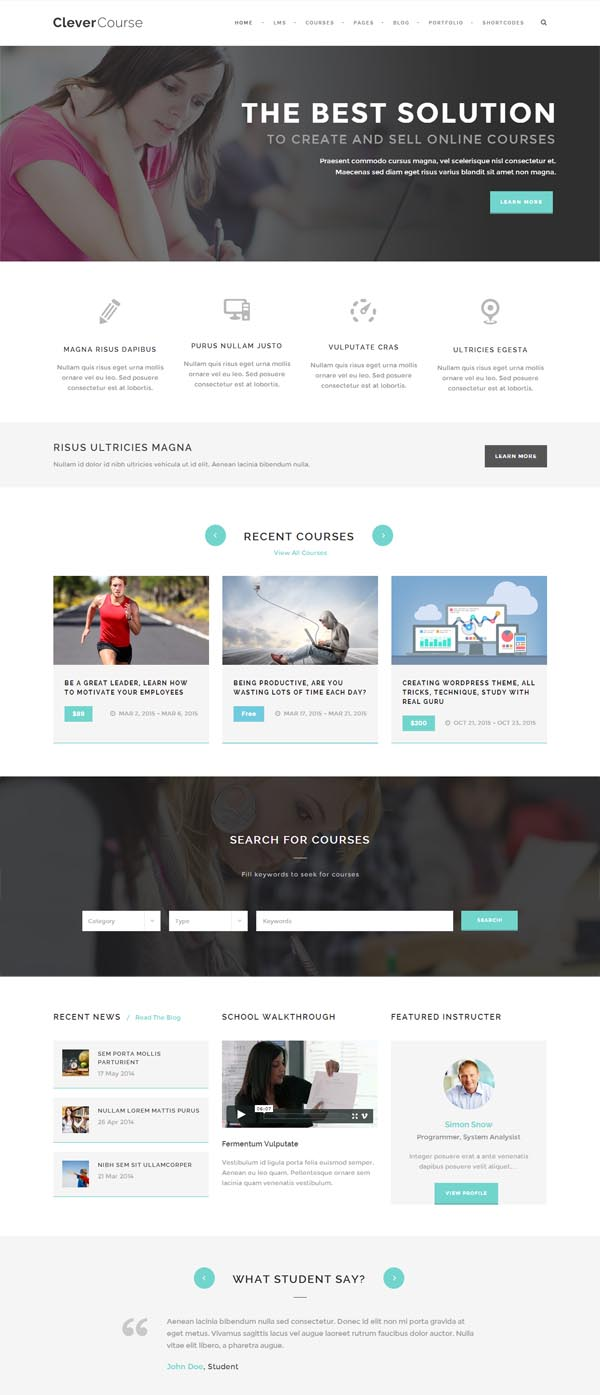Clever Course – Learning Management System Theme
