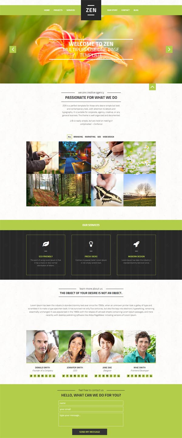 Zen – Multipurpose One Page Blog Theme