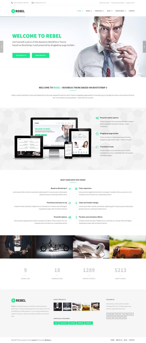 Rebel – WordPress Business Bootstrap Theme