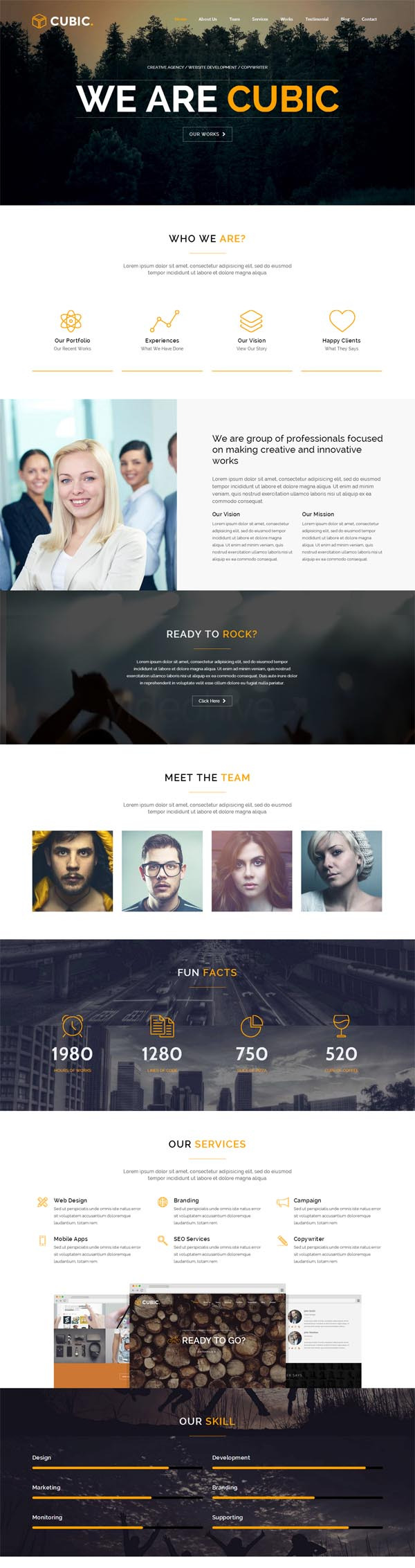Cubic – One Page Responsive WordPress Theme