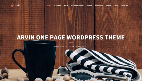 Arvin – Multipurpose One Page WordPress Theme
